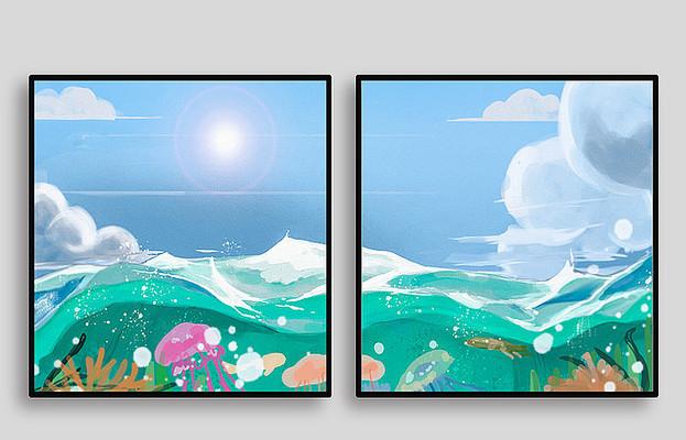 汪洋大海现代室内装饰画