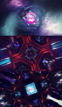 科幻宇宙3D隧道穿梭Logo片头PR模板