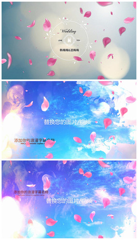 浪漫玫瑰水墨PR婚礼视频相册模板
