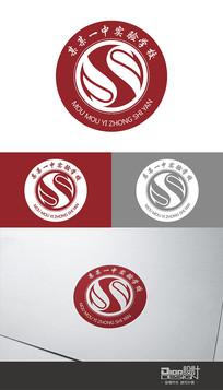 时尚红色学校校徽Logo设计AI矢量图