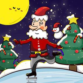 原創手繪圣誕節圣誕老人滑冰