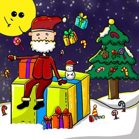 原創手繪圣誕節圣誕老人送禮物卡通