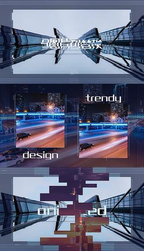 科技感条形平滑图文幻灯片PR模板