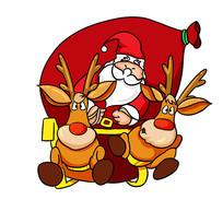 手绘圣诞节圣诞老人送礼物插画