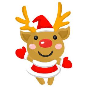 手绘圣诞节驯鹿元素插画