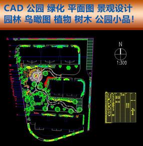 CAD公园鸟瞰图绿化平面图纸景观园林