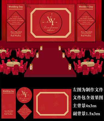 大红金色欧式婚礼背景板设计