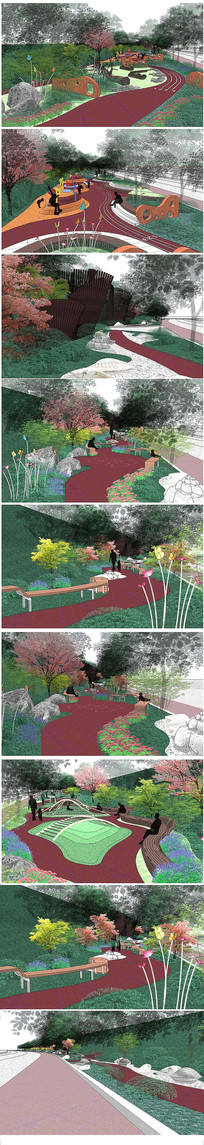 道路小景绿化模型