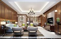 简欧风格客厅室内设计模型