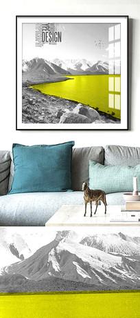 简约北欧风景抽象黑白装饰画