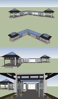 亭廊花架组合设计模型