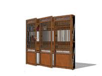 中式木门书架su模型