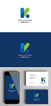 K字母科技公司简约logo标志设计