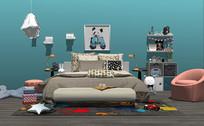 北欧儿童床沙发玩具组合
