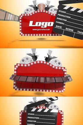 卡通3d胶片胶带电影logo片头pr模板