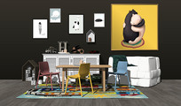现代儿童桌椅沙发组合