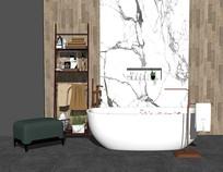 现代简约浴缸摆件单椅组合