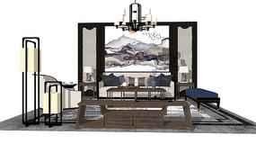 新中式客厅沙发茶几
