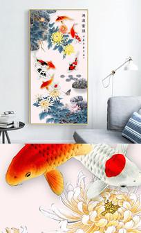 新中式现代九鱼图风景玄关晶瓷画