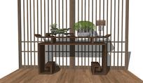 新中式玄关柜 边柜 端景台