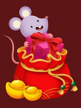原创元素新年老鼠钱袋