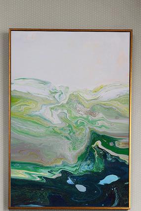 中性绿色水溶抽象油画玄关画