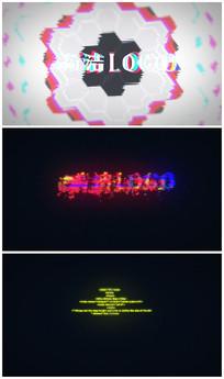 科技信号干扰logo片头视频模板