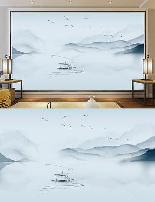 PSD分层水墨新中式意境山水画背景墙