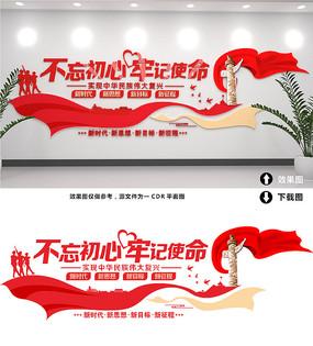 红色大气精美不忘初心文化墙设计