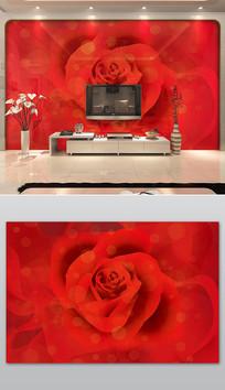 红色浪漫玫瑰花电视背景墙