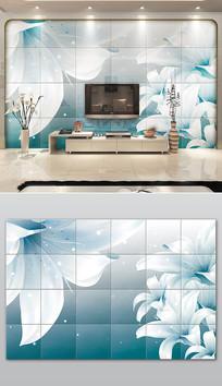 冷色调鲜花瓷砖电视背景墙设计
