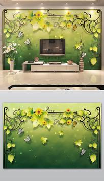 绿色鲜花藤蔓植物3D电视背景墙