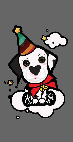 原创卡通圣诞风坐姿斑点狗