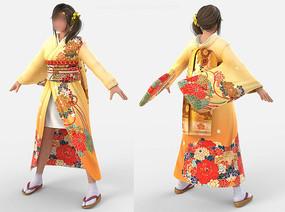 fbx obj模型-日本和服少女蒙皮 max