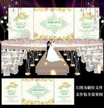 黄色碎花婚礼背景设计