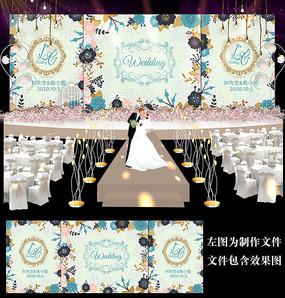 浪漫蓝色花卉婚礼背景设计