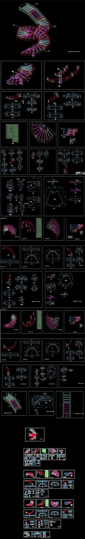 螺旋钢楼梯CAD图库