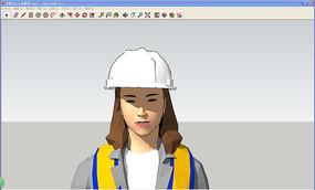 女操作工人体模型 skp