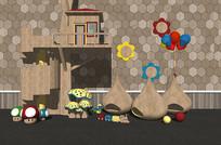 现代儿童游乐园木屋玩具
