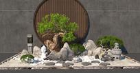 新中式松树假山景观小品