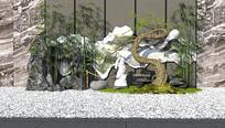 新中式松树石头景观小品