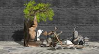 新中式松树禅意景观小品