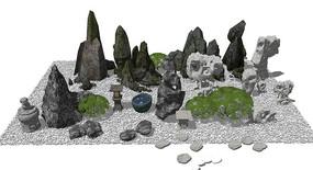 中式假山石头岩石景观小品