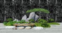 中式松树假山景观小品