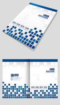 蓝色方格企业公司宣传画册封面
