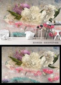 现代高清手绘小清新玫瑰花蝴蝶电视背景墙