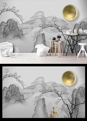 新中式山水石纹大理石意境山水背景墙
