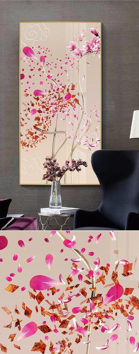 北欧抽象蓝色线条花卉创意晶瓷画玄关装饰画
