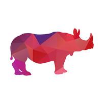 多边形色块动物剪影犀牛
