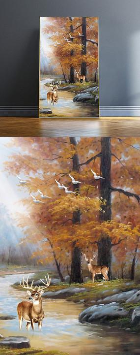 手绘油画玄关画背有靠山发财有鹿